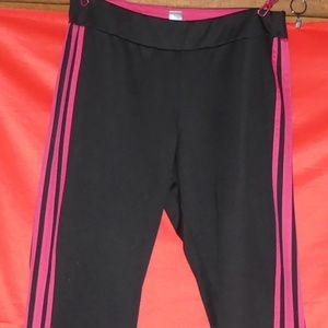 *Avenue Black and Pink Striped Track Pants
